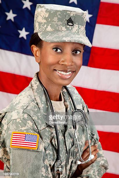female african american soldier series: medical doctor - military doctor stock photos and pictures