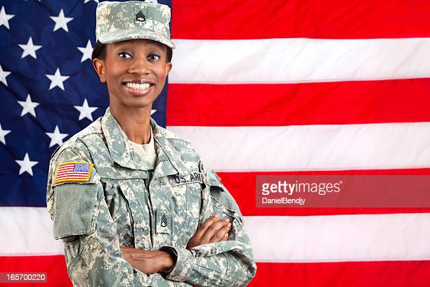 Female African American Soldier Series: Standing against USA Flag