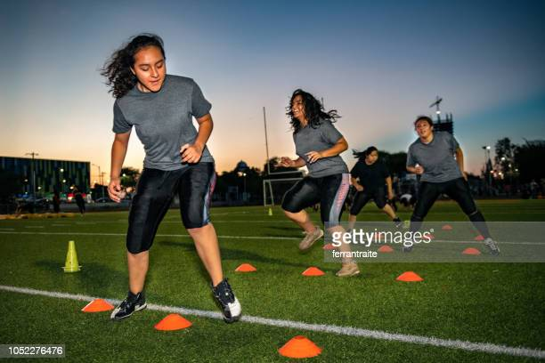 Female American Football Team Training
