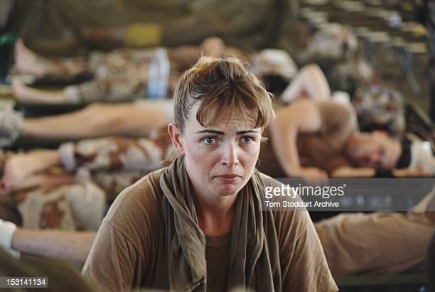 A female American Marine at a base in Eastern Province Saudi Arabia during the Gulf War 1990