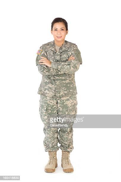 雌アメリカ軍兵士のカモフラージュ均一 - 軍服 ストックフォトと画像