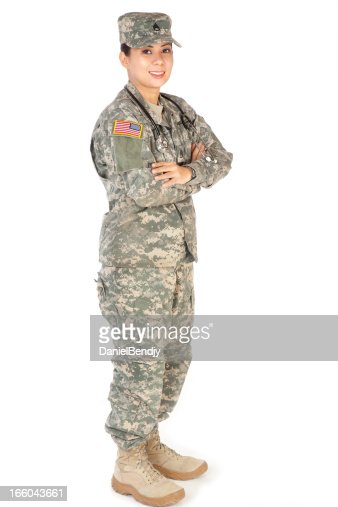Female American Soldier In Army Camouflage Uniform Stock