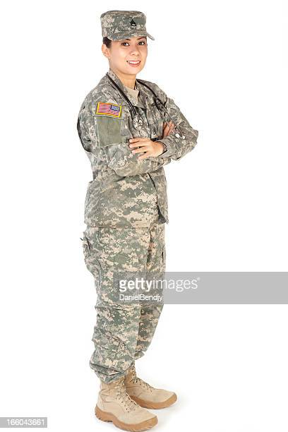 female american soldier in army camouflage uniform - military doctor stock photos and pictures