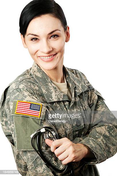 female american soldier - military doctor stock photos and pictures