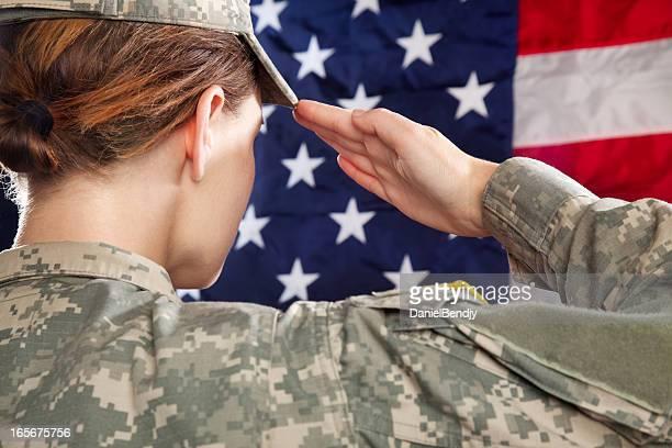 Female American Soldier Saluting