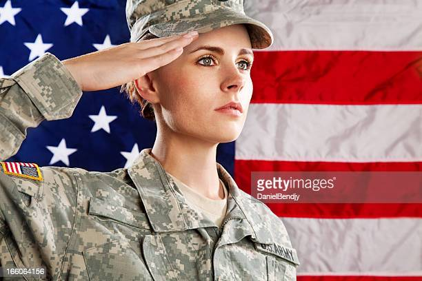 female american soldier series:against usa flag - saluting stock pictures, royalty-free photos & images