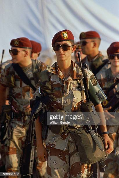 Female American soldiers arrive in Dhahran Saudi Arabia during a buildup of American troops prior to an invasion of Iraq and the Gulf War