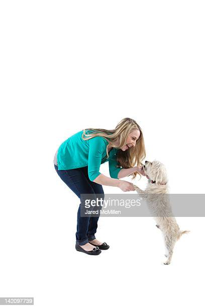 Female and her dog photographed in the studio.