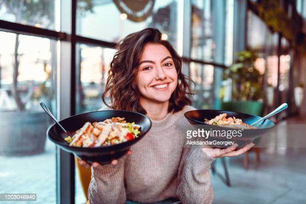 female and her salad choice - eating stock pictures, royalty-free photos & images