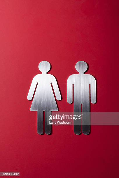Female and male restroom sign figures side by side