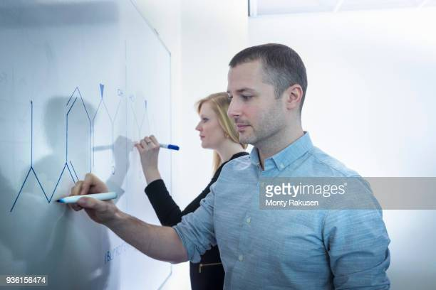 Female and male scientists drawing on white board in meeting room