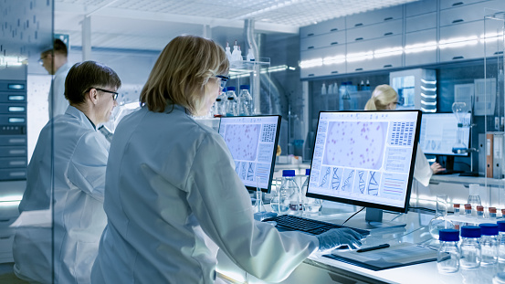 Female and Male Scientists Working on their Computers In Big Modern Laboratory. Various Shelves with Beakers, Chemicals and Different Technical Equipment is Visible. 949947128
