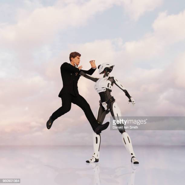 Female android battles with human business man in suit