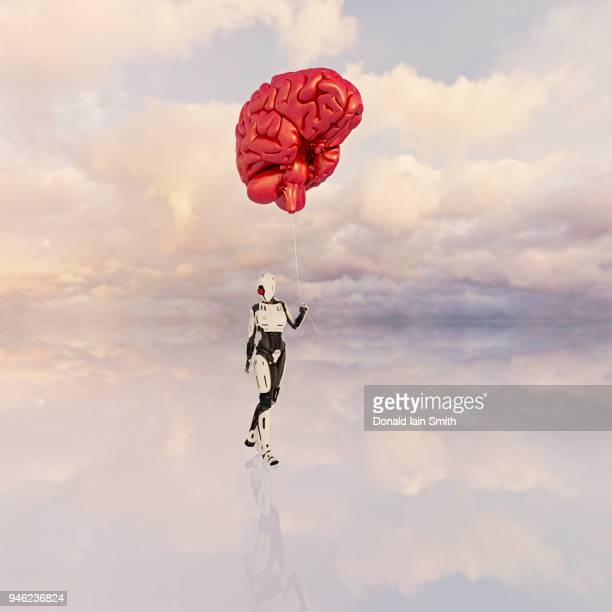 Female android holds large floating human brain like balloon on a string