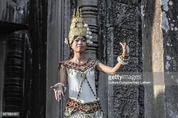 female apsara dancer, bayon temple, angkor thom, cambodia - apsara stock photos and pictures