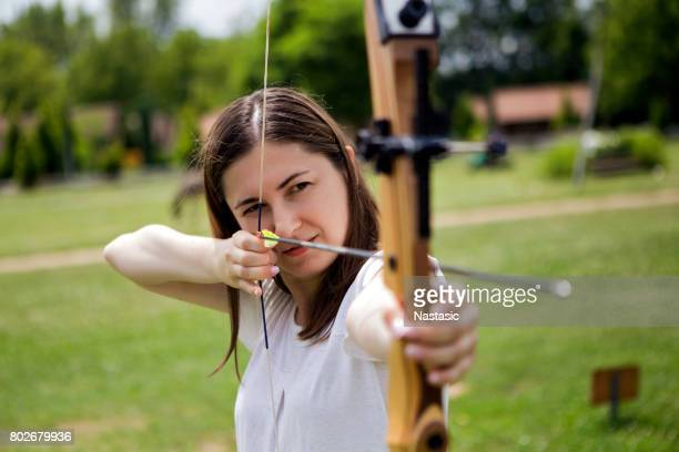 female archer - archery stock pictures, royalty-free photos & images