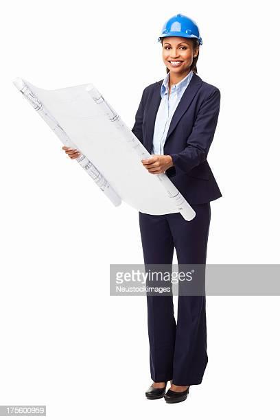 Female Architect Holding Unrolled Blueprint - Isolated