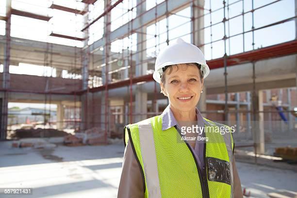Female architect on construction site