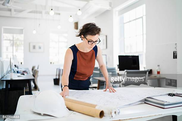 female architect reviewing blueprints in office - 女性建築家 ストックフォトと画像