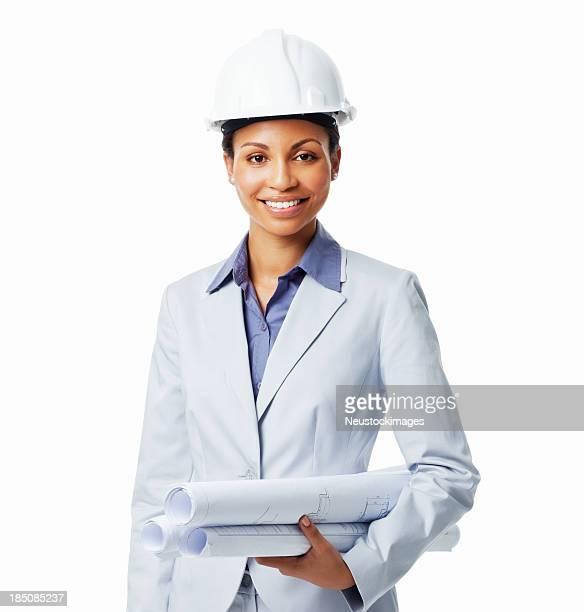 feminino arquiteto com plantas-isolado - capacete de obra - fotografias e filmes do acervo