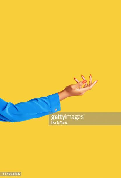 female arm and hand on yellow background - long sleeved stock pictures, royalty-free photos & images
