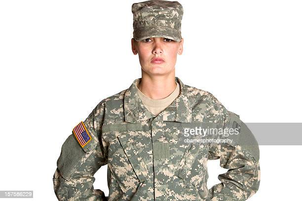 female army soldier at ease - camouflage clothing stock pictures, royalty-free photos & images