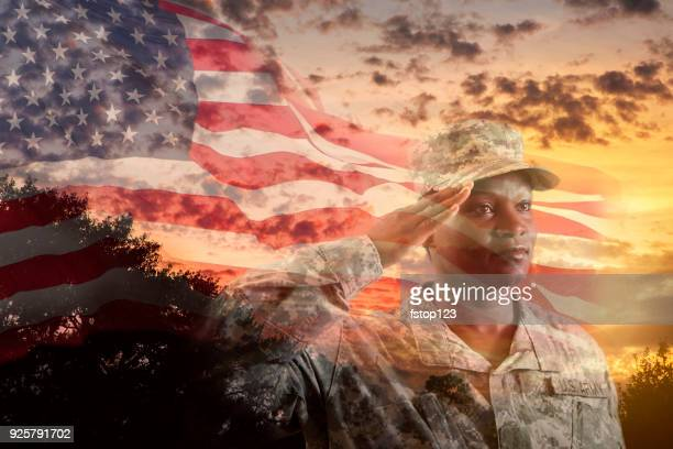female army soldier overlay sunset, american flag. - saluting stock pictures, royalty-free photos & images