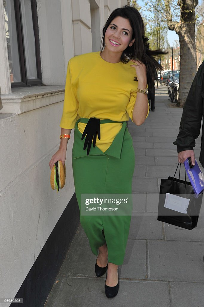 Female artist Marina Diamandis, aka Marina and the Diamonds, leaving the Radio 1 Live Lounge today, on April 23, 2010 in London, England.