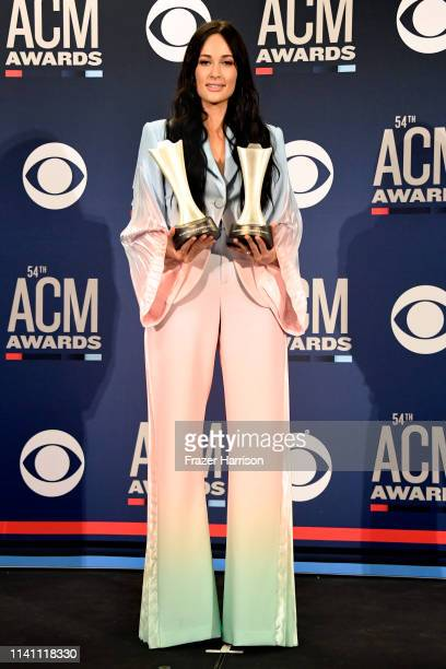 Female Artist of the Year winner Kacey Musgraves poses in the press room during the 54th Academy Of Country Music Awards at MGM Grand Garden Arena on...