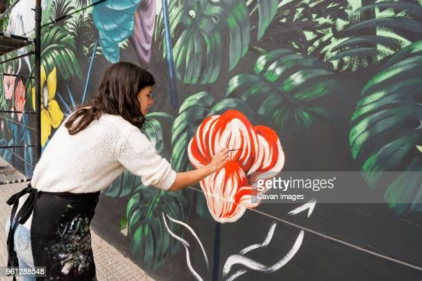 female artist painting mural on wall - dipinto foto e immagini stock
