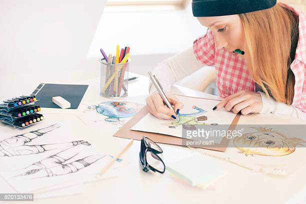 female artist - anime stock photos and pictures