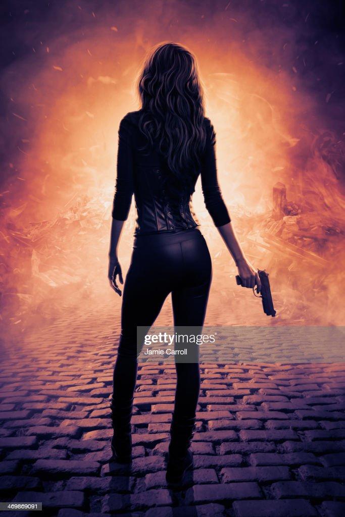 Female assassin digital artwork : Stock Photo