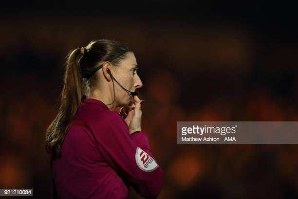 Female Assistant Referee Sian MasseyEllis runs the line during The Emirates FA Cup Fifth Round match between Rochdale and Tottenham Hotspur on...