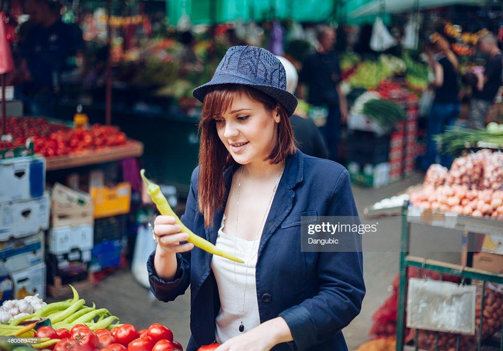 Female At Market Place : Stock Photo