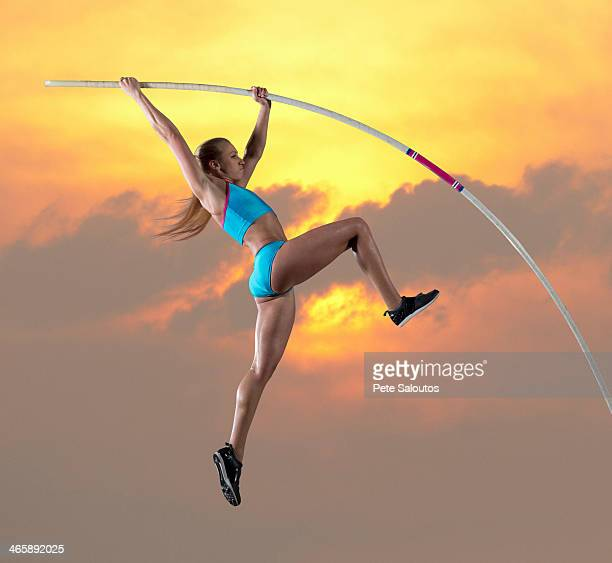 Female athlete doing pole vault