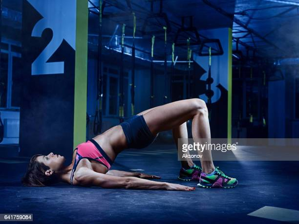 GYM TRAINING: Female athlete in action