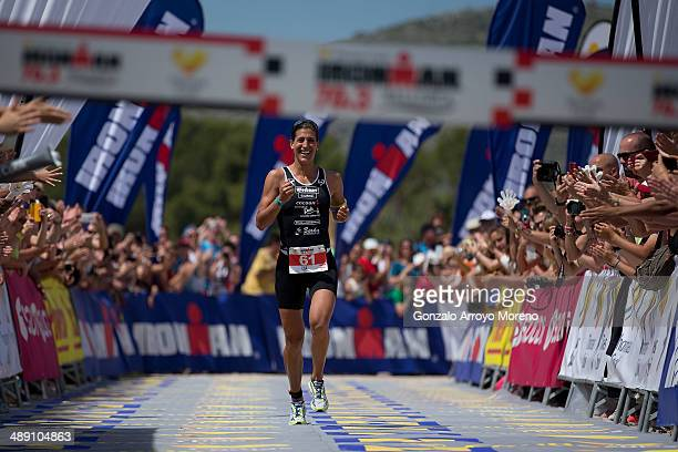 Female Athlete Lisa Huetthaler wins the women's competition during the Ironman 703 Mallorca on May 10 2014 in Mallorca Spain