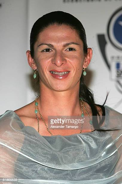 Female athlete of the year Ana Gabriela Guevara poses backstage at the 2nd Annual Premios FOX Sports Awards on December 15 2004 at the Jackie Gleason...