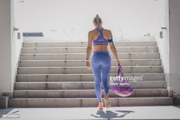 female athlete - gym bag stock pictures, royalty-free photos & images