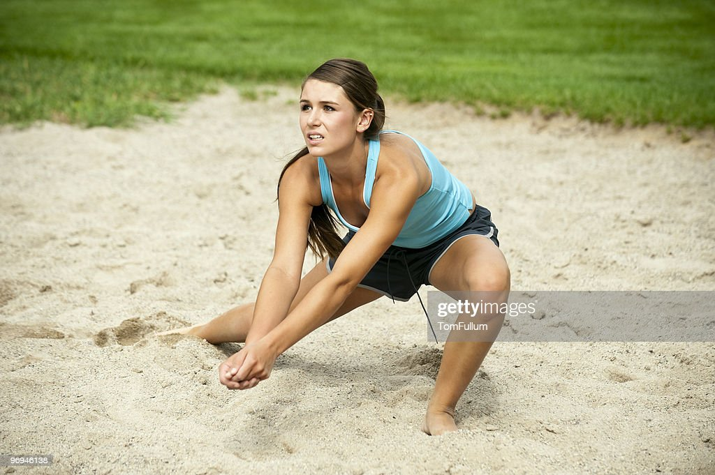 Female Athlete Playing Volleyball : Stock Photo