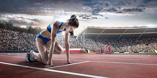 Female Athlete Prepares To Run Wall Art