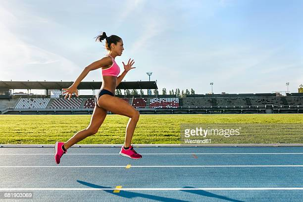 female athlete running on racetrack - track and field stadium stock pictures, royalty-free photos & images