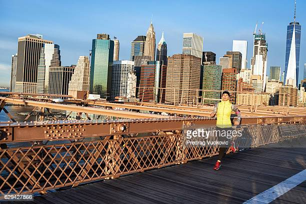 Running Brooklyn Bridge Photos and Premium High Res ...
