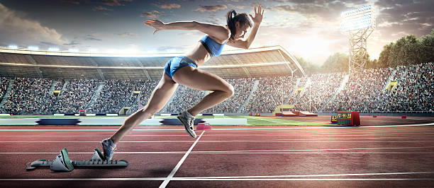 Female Athlete Sprinting Wall Art