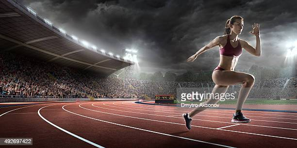 Female athlete sprinting