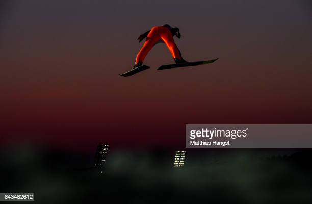 Female athlete takes part in Women's Ski Jump training ahead of the FIS Nordic World Ski Championships on February 21, 2017 in Lahti, Finland.