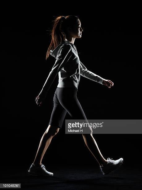 Female athlete who does walking
