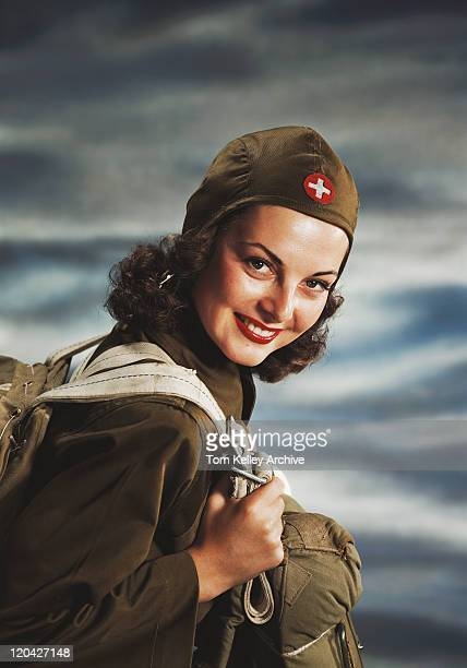 female aviator, smiling, portrait  - aviation hat stock photos and pictures