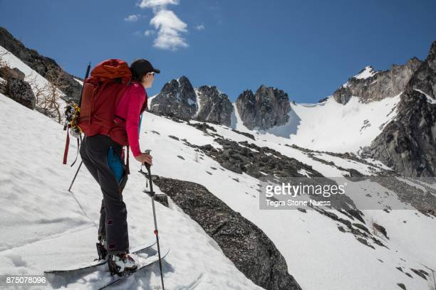 Female Backcountry Skier in Mountains