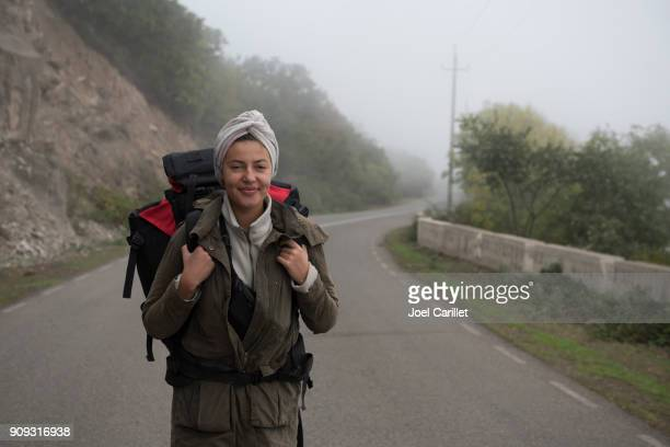 female backpacker traveling in armenia - caucasus stock pictures, royalty-free photos & images